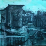 Charcoal painting, buldings , cities, acrylic, African Art